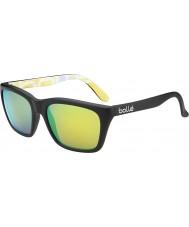 Bolle 527 retro kolekce matná černá grafika polarizované sluneční brýle hnědé smaragd