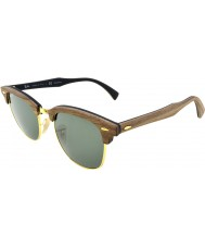 RayBan Rb3016m 51 clubmaster dřevo ořech gumové černé 118158 polarizované sluneční brýle