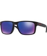 Oakley Oo9102-36 Holbrook matná černá - červená iridium sluneční brýle