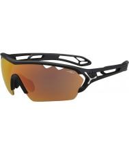 Cebe S-track mono velký matná černá 1500 šedá zrcadlo oranžové sluneční brýle s čirou nahrazení čočkou