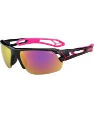 Cebe S-track středně lesklé černé purpurová 1500 šedá zrcadlo růžové brýle s čirou nahrazení čočkou